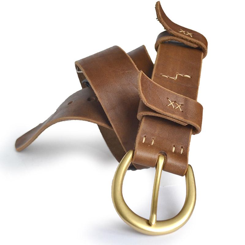 Кожаный ремень Shoe 40 мм горчичный [UBL410]