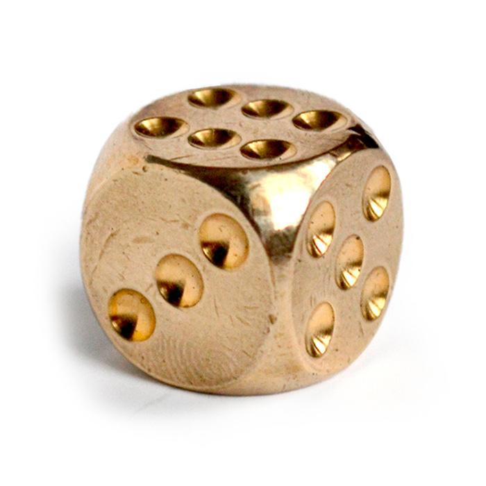 игральная кость, латунь 13 мм [ugla517]